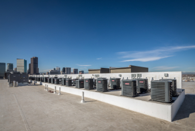 top of commercial roof with air conditioning units
